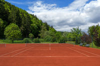 Clean pulled tennis court after the spring overhaul