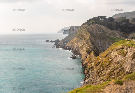 shear sided cliffs along the Jurassic Coast viewed from Lulworth cove to Durdle Door, Dorset, South