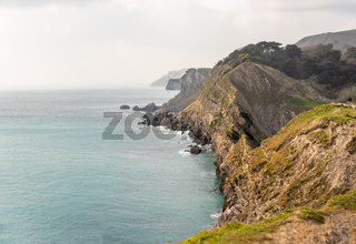 View of the shear sided cliffs along the Jurassic Coast viewed from Lulworth cove to Durdle Door