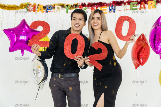 Couple celebrate 2020 party