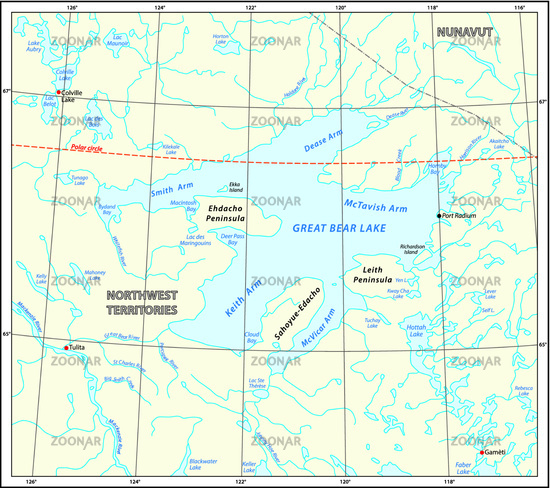 Detailed map of the Great Bear Lake Northwest Territories canada
