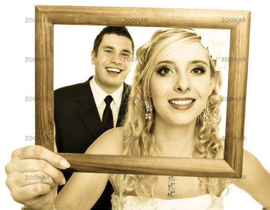 Wedding couple. Portrait of happy bride and groom