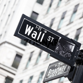 Wall St. street sign in lower Manhattan, New York City.