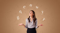 Person juggle with letters