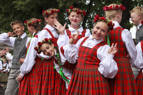 Dancers behind scene waiting for time to perform at the Grand Folk dance concert