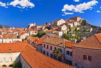 Historic town of Dubrovnik panoramic view from walls