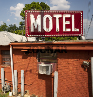 Neon and Incandescant Bullb Red Motel Sign