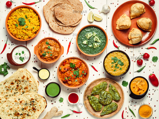 Indian food and indian cuisine dishes, top view
