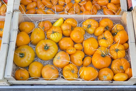 Frische Tomaten in einer Kiste auf einem Markt