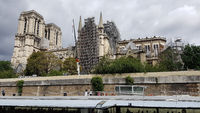 Temporary security measures on the south façade of Notre-Dame in Paris after the fire in April 2019