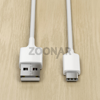 USB cables on wood