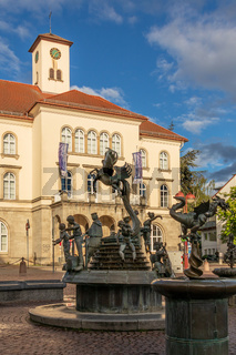 Sindelfingen, Baden Wurttemberg/Germany - May 11, 2019: Panorama of City Gallery building, Stadtgalerie and market fountain in foreground.
