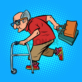 Active old man with shopping