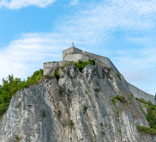 view of the historic citadel and fortress on the cliff above Dinant