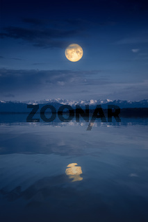 Starnberg Lake by night with full moon
