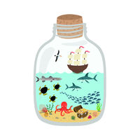 Cartoon underwater world in a bottle, fish, sharks, turtles, octopus, treasure chest, ship.