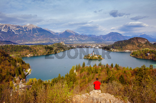 Panoramic view of Bled Lake, Slovenia