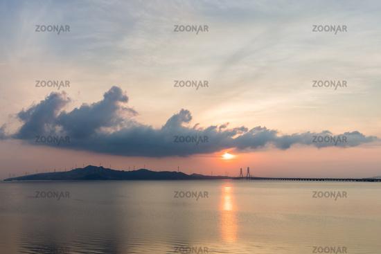 poyang lake cable-stayed bridge landscape