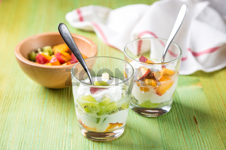 Healthy fruit salad with yoghurt