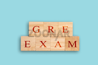Concept showing of GRE or Graduate Record Examinations standardized test for graduate schools in the United States.