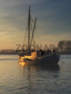 historischer Aalschokker in Monheim am Rhein,Nordrhein-Westfalen,Deutschland