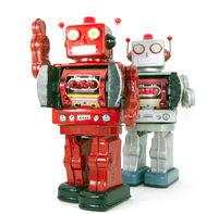 retro robots say hi isolated