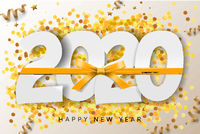 2020 Happy New Year background with gold ribbon and glitter. Vector illustration