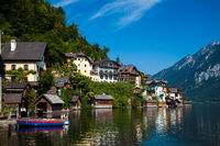 HALLSTATT, AUSTRIA - SEPTEMBER 11, 2012: The beautiful village of Hallstatt in Austria