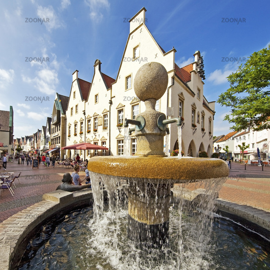 old city with market fountain and old town hall, Haltern am See, Ruhr Area, Germany, Europe
