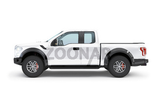 Modern white pick-up truck, suv vehicle
