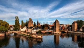 Alsace - Strasbourg. Ponts Couverts. Strasbourg Cathedral.