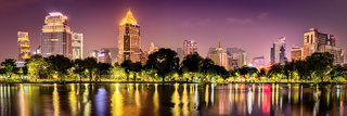Panoramic view of Bangkok skyline. Night cityscape of Bangkok, Thailand. Panorama