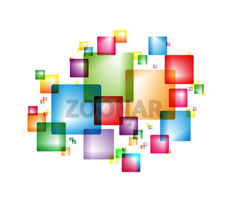 Colorful background with colorful intersecting squares.