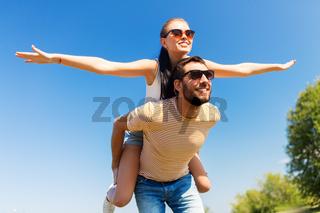 happy couple having fun in summer