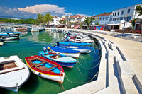 Krk island. Town of Njivice turquoise harbor and waterfront view