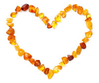 Heart Shape Made Of Amber Isolated