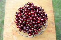 Glass bowl with sour cherries