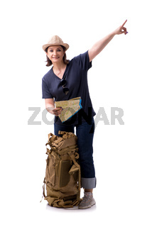 Aged female tourist isolated on white