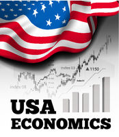American economics vector illustration with flag of the USA and business chart, bar chart stock numbers bull market, uptrend line graph symbolizes the growth