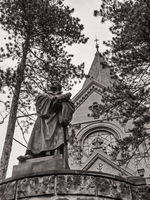 Görlitz, monochrome image of Luther church and statue of Luther