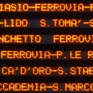 Vaporetto information board
