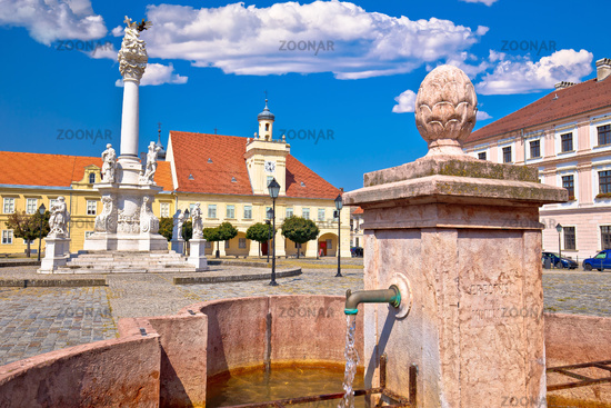 Old paved street and fountain in Tvrdja historic town of Osijek