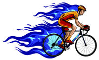 Flaming Trail of Bicycle Race Silhouette vector illustration