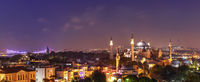 Hagia Sophia and the Bosphorus Bridge, evening panorama of Istanbul