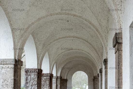 Arcades in the Art Nouveau spa complex Sprudelhof, Bad Nauheim