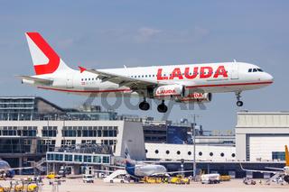 Lauda Airbus A320 airplane Stuttgart airport