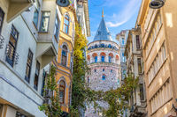 Galata Tower in the wonderful old street of Istanbul, Turkey