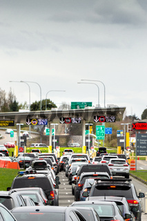 April 14, 2019 - Surrey, Canada: USA bound vehicles waiting at Peace Arch border inspection station near Blaine, WA.