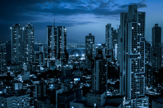 modern city skyline at night - skyscraper   cityscape   -