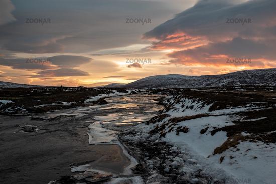 Godafoss river at sunset, Iceland